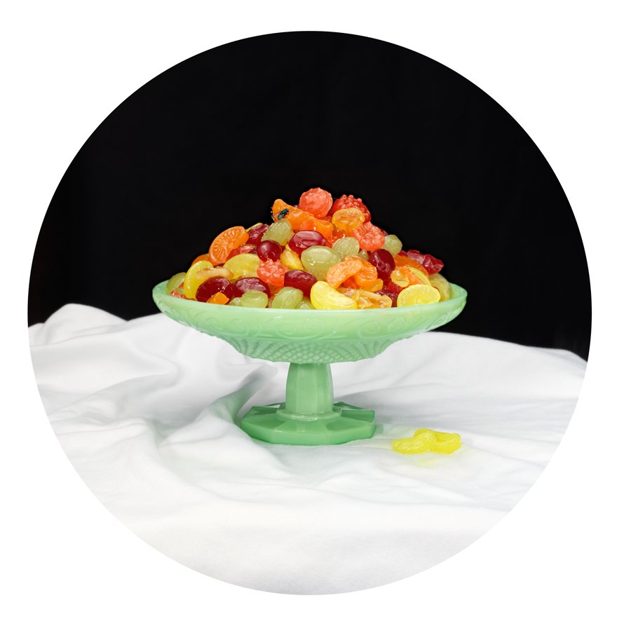 "SUCKED CANDIES,  from The Still Life Vanits Series 2014, 30 x 30"" archival ink jet print"